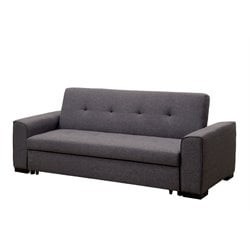 Furniture of America Cayla Linen Sleeper Sofa Bed in Gray