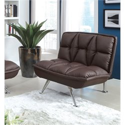 Furniture of America Becky Leather Upholstered Futon Chair in Brown