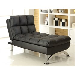 Furniture of America Preston Tufted Leather Chaise Lounge in Black