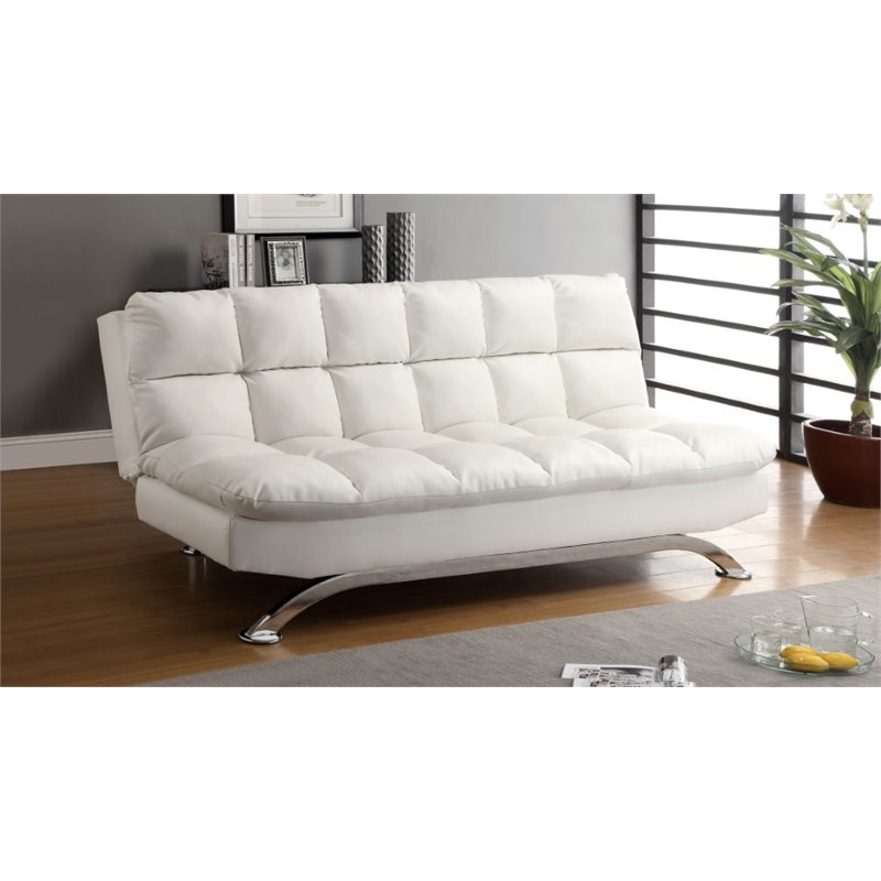 Furniture of america preston tufted leather sleeper sofa for Tufted leather sleeper sofa