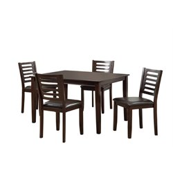 Furniture of America Saveris 5 Piece Dining Set in Espresso