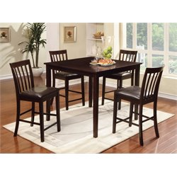 Furniture of America Derica 5 Piece Counter Height Dining Set