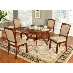 Furniture of America Heston 5 Piece Dining Set in Oak