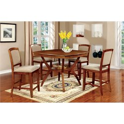 Furniture of America Semma 5 Piece Counter Height Dining Set in Oak