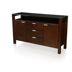 Furniture of America Glen Glass Top Buffet in Dark Cherry