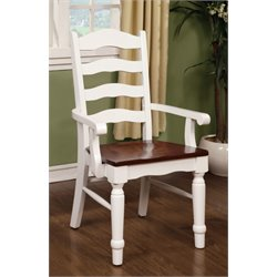 Furniture of America Joan Dining Arm Chair in White (Set of 2)