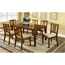 Furniture of America Raina 7 Piece Dining Set in Dark Oak