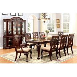Furniture of America Mastens Extendable Dining Set in Cherry