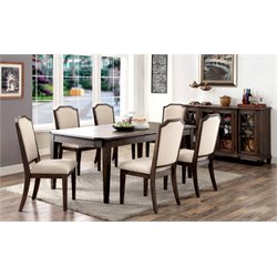 Furniture of America Elliot 7 Piece Extendable Dining Set in Brown