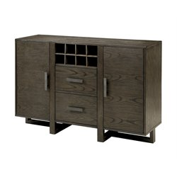 Furniture of America Rutundid Wine Rack Buffet in Weathered Gray