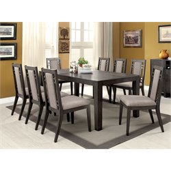 Furniture of America Rutundid 9 Piece Extendable Dining Set in Gray