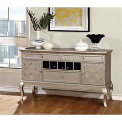 Furniture of America Madelyn Wine Rack Sideboard in Silver