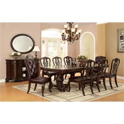 Furniture of America Ramsaran 9 Extendable Pedestal Dining Set