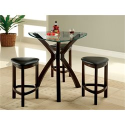 Furniture of America Jubert 4 Piece Counter Height Pub Set in Espresso