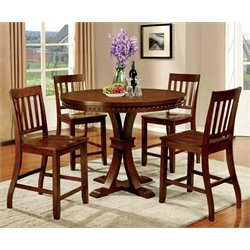 Furniture of America Duran 5 Piece Round Counter Height Dining Set