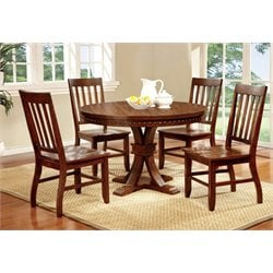 Furniture of America Duran 5 Piece Round Dining Set in Dark Oak