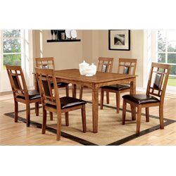 Furniture of America Raven 7 Piece Dining Set in Light Oak