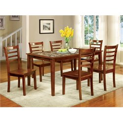 Furniture of America Elgee Oak Dining Set in Oak