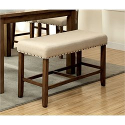 Furniture of America Spier Counter Height Dining Bench in Natural Wood