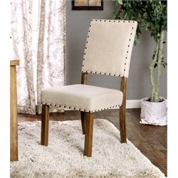 Furniture of America Spier Linen Dining Chair in Wood (Set of 2)