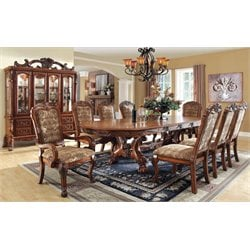 Furniture of America Douglas 9 Piece Extendable Dining Set in Oak