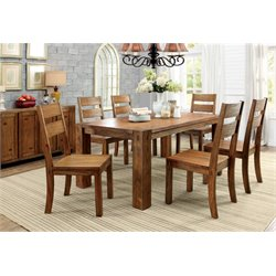 Furniture of America Rowlie Dining Set in Dark Oak