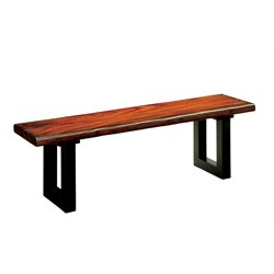 Furniture of America Buntix Dining Bench in Tobacco Oak