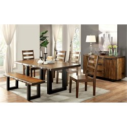 Furniture of America Buntix 6 Piece Dining Set in Tobacco Oak