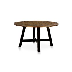 Furniture of America Venture Round Dining Table in Antique Oak