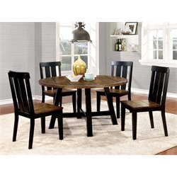 Furniture of America Venture 5 Piece Round Dining Set in Antique Oak