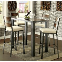 Furniture of America Metrix 5 Piece Pub Set in Weathered Oak