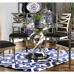 Furniture of America Halliway Round Dining Table in Satin