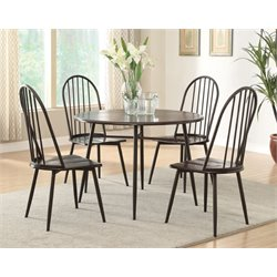 Furniture of America Terrance 5 Piece Round Dining Set in Dark Oak
