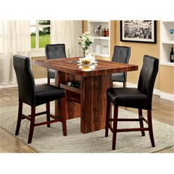 Furniture of America Rosa Counter Height Dining Set in Cherry
