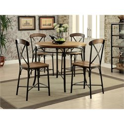Furniture of America Kingsley 5 Piece Counter Height Round Dining Set