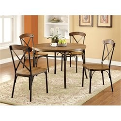 Furniture of America Wagner 5 Piece Round Dining Set in Bronze