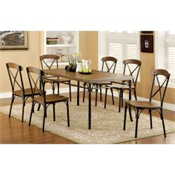 Furniture of America Wagner 7 Piece Dining Set in Bronze
