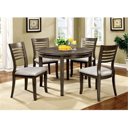 Furniture of America Mantray 5 Piece Round Dining Set in Gray