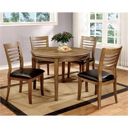 Furniture of America Halen 5 Piece Round Dining Set in Natural Oak