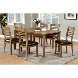 Furniture of America Halen 7 Piece Dining Set in Natural Oak