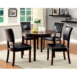 Furniture of America Halen 5 Piece Round Dining Set in Medium Oak