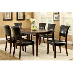 Furniture of America Halen 7 Piece Dining Set in Medium Oak