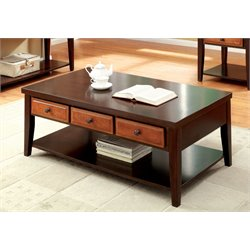 Furniture of America Devonne Storage Coffee Table in Dark Cherry