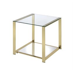 Furniture of America Richellio Square End Table in Champagne