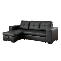 Furniture of America Covington Leather Convertible Sectional in Black