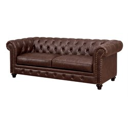 Furniture of America Villa Tufted Leather Sofa in Brown