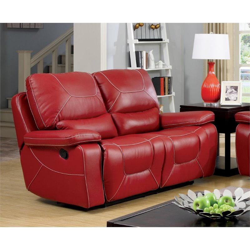 Furniture Of America Huskan Leather Reclining Loveseat In Red Idf 6814rd Lv