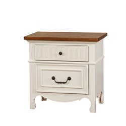 Furniture of America Darla 2 Drawer Nightstand in Cherry and White