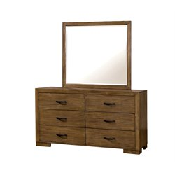 Furniture of America Fletcher Dresser and Mirror Set in Pine Wood