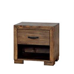 Furniture of America Fletcher 1 Drawer Nightstand in Pine Wood